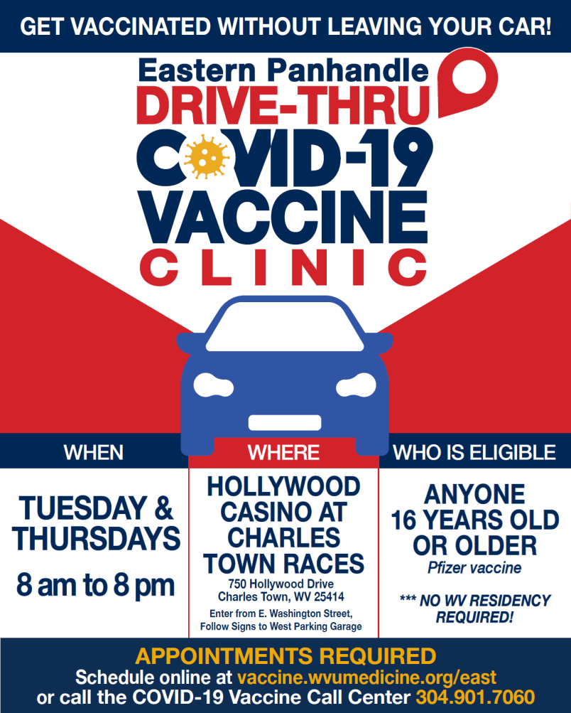 Flyer for drive thru COVID vaccine at the Hollywood Casino